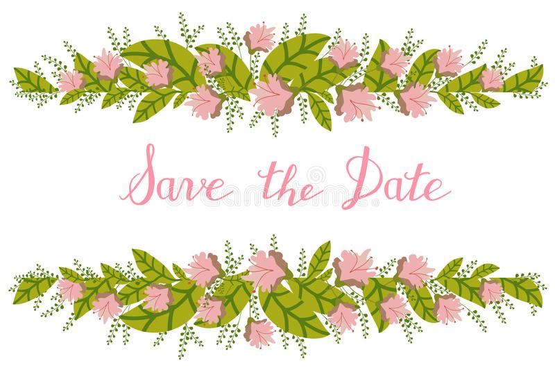 Flower Card, Invitation, Banner Template With Save The Date Title ...