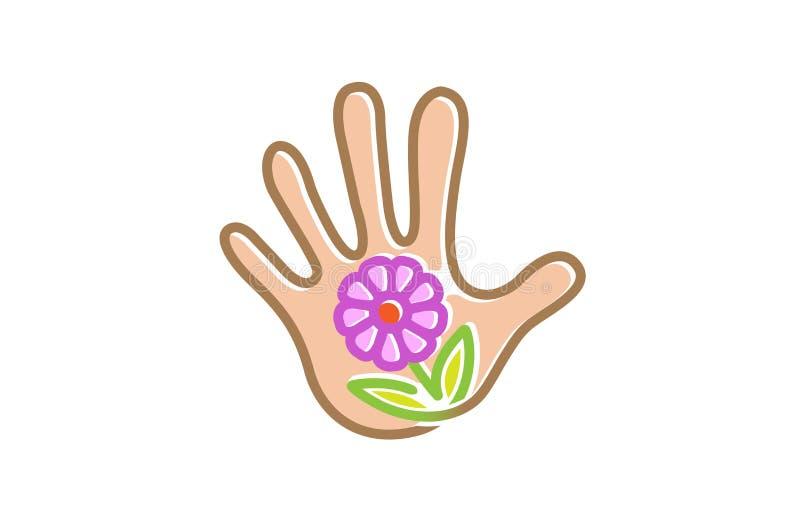 Flower Care Hand Nature Plant Symbol Logo. Design Illustration vector illustration