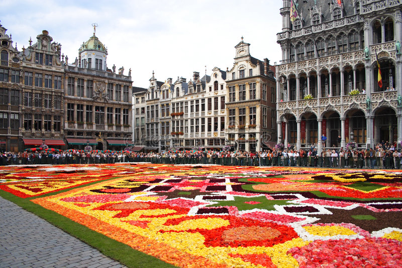 Flower carpet in Brussels royalty free stock photo