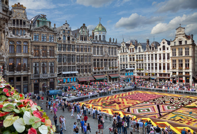 Flower Carpet in Grand Place of Brussels royalty free stock image