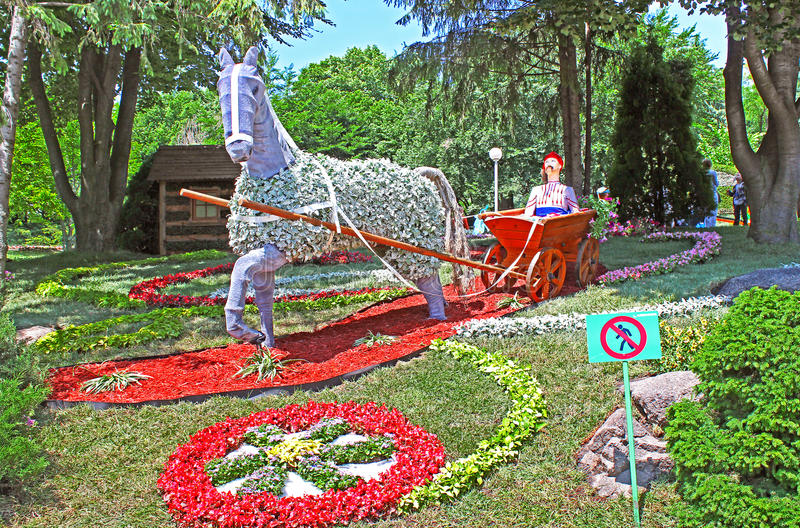 Flower cars exhibition at Spivoche Pole in Kyiv, Ukraine royalty free stock photo