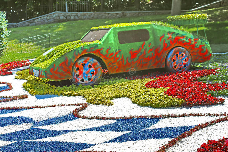 Flower cars exhibition at Spivoche Pole in Kyiv, Ukraine royalty free stock image