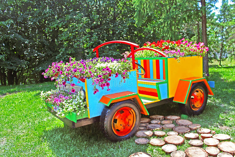Flower cars exhibition at Spivoche Pole in Kyiv, Ukraine royalty free stock photography