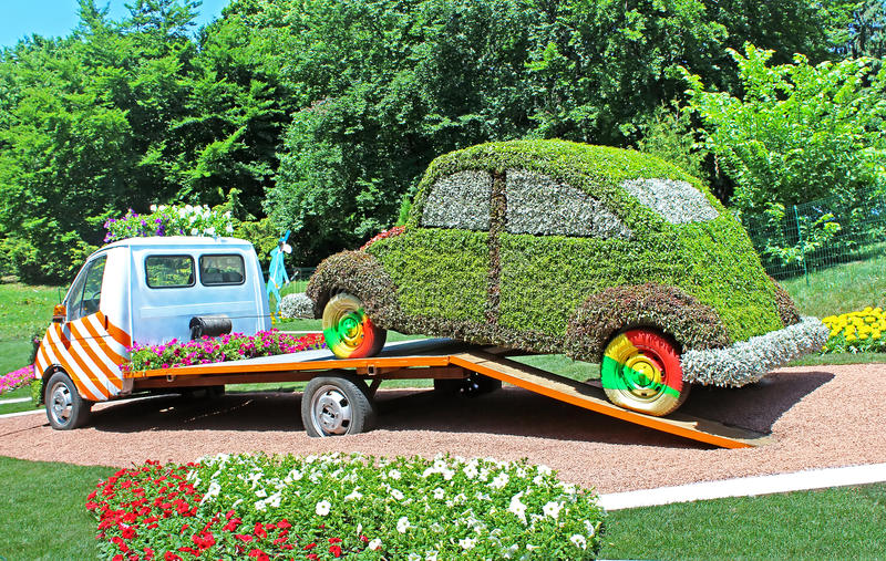 Flower cars exhibition at Spivoche Pole in Kyiv, Ukraine royalty free stock photos