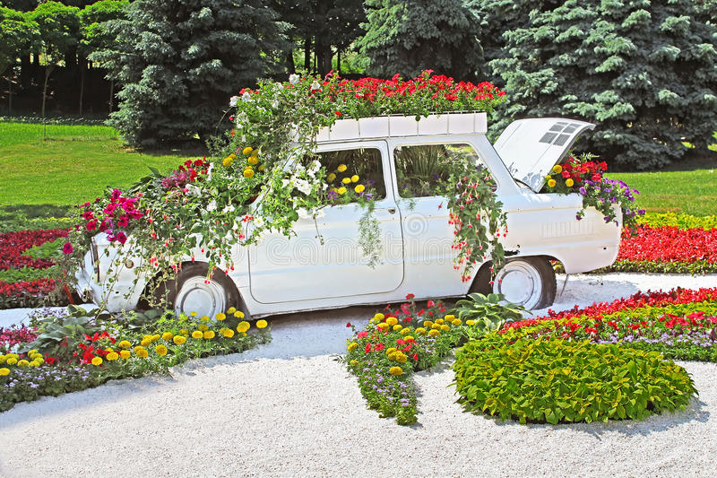 Flower cars exhibition at Spivoche Pole in Kyiv, Ukraine stock images