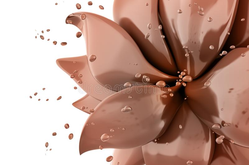 Flower chocolate abstract background 3d rendering. 3d flower chocolate abstract background isolated rendering royalty free illustration