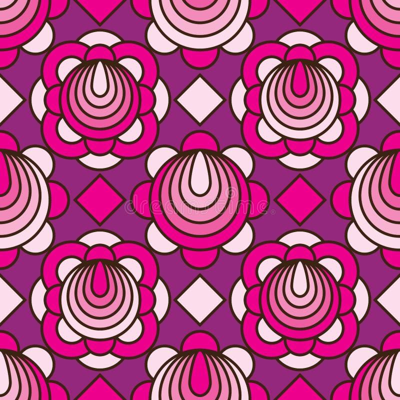 Flower circle line pink purple diamand shape seamless pattern. This illustration is design and drawing flower circle line with pink and purple colors decoration stock illustration