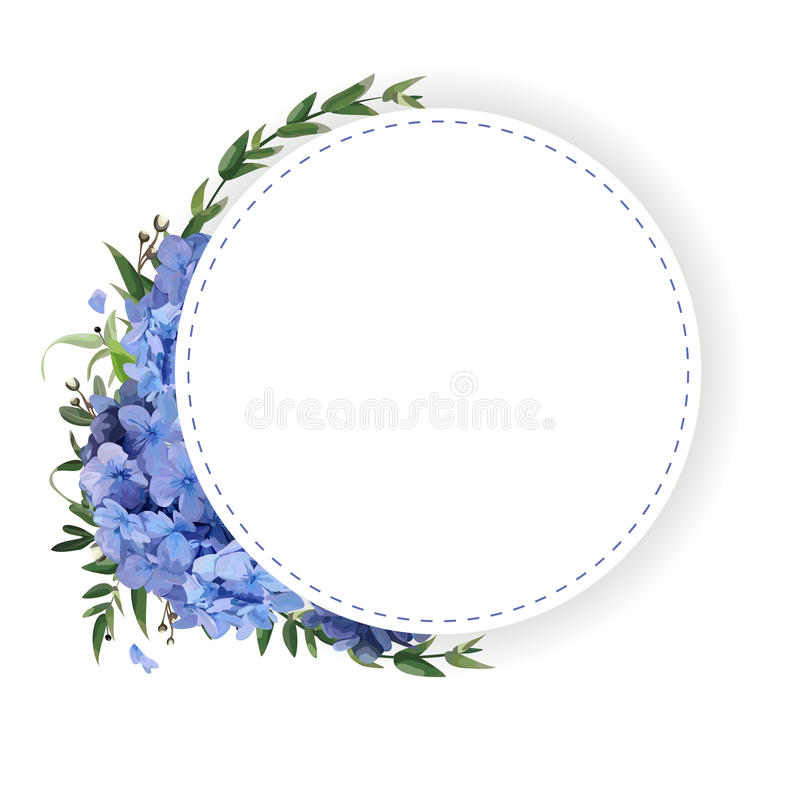 Flower circle, round, wreath coronet of blue hydrangea vector illustration