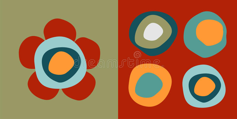 Flower And Circles Patterns Royalty Free Stock Photo