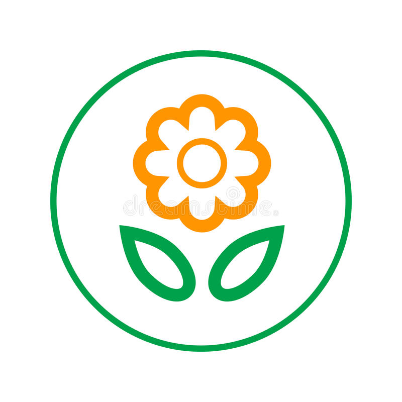 Flower circular line icon. Round sign. Flat style vector symbol. stock illustration