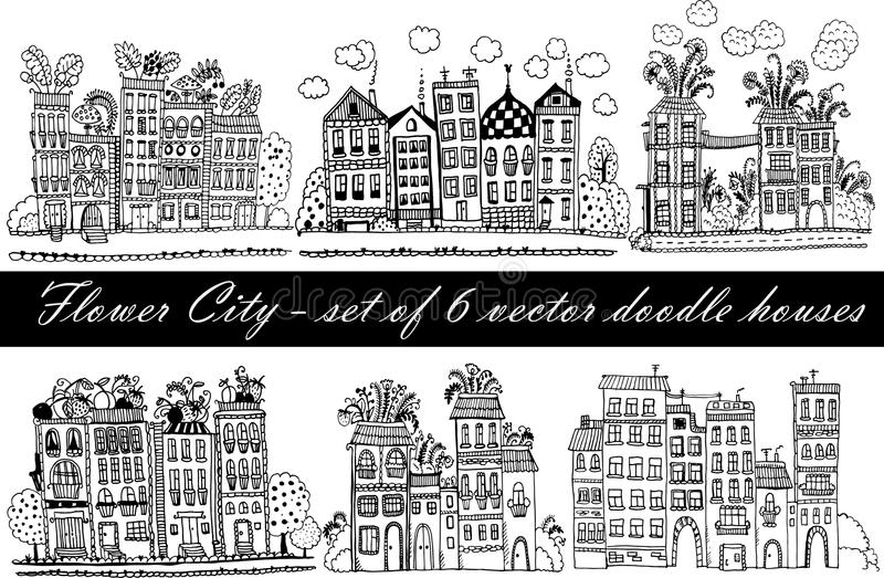 Flower City - a set of 6 illustrations with funny fantasy houses in the doodle style vector illustration