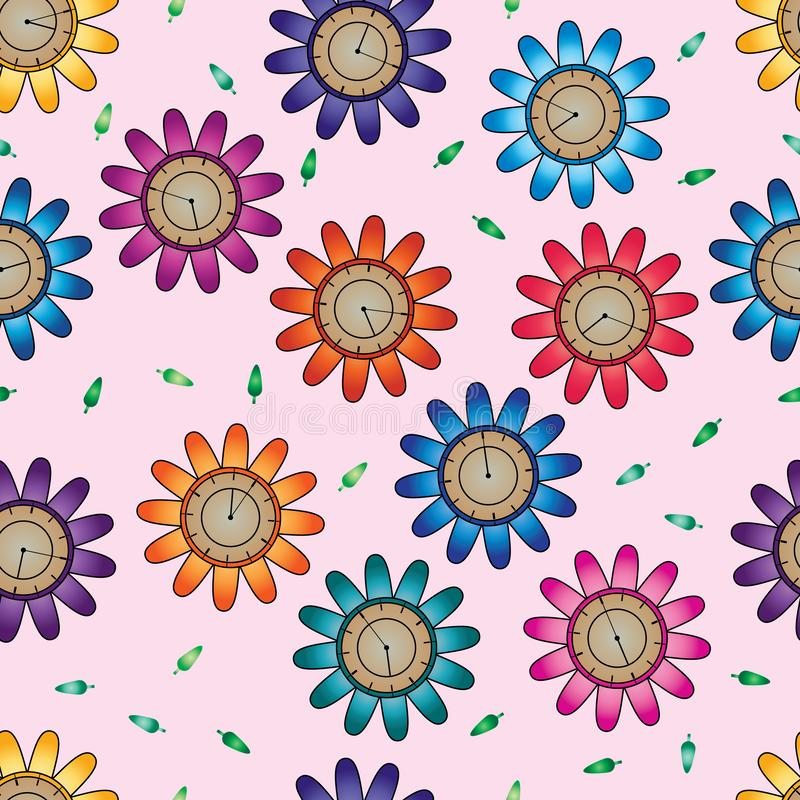 Flower clock colorful seamless pattern royalty free illustration