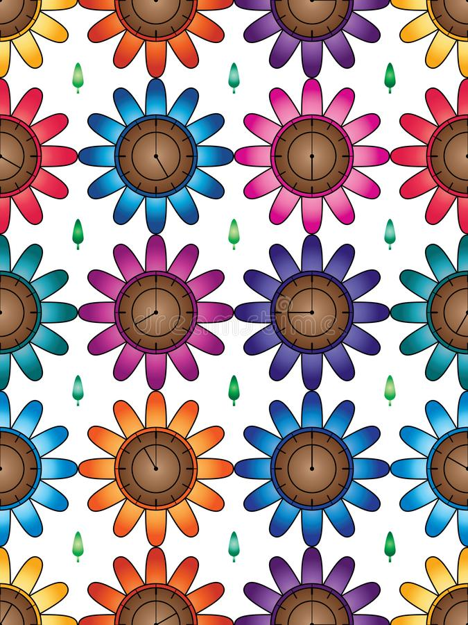 Free Flower Clock Colorful Symmetry Seamless Pattern Stock Image - 156321791