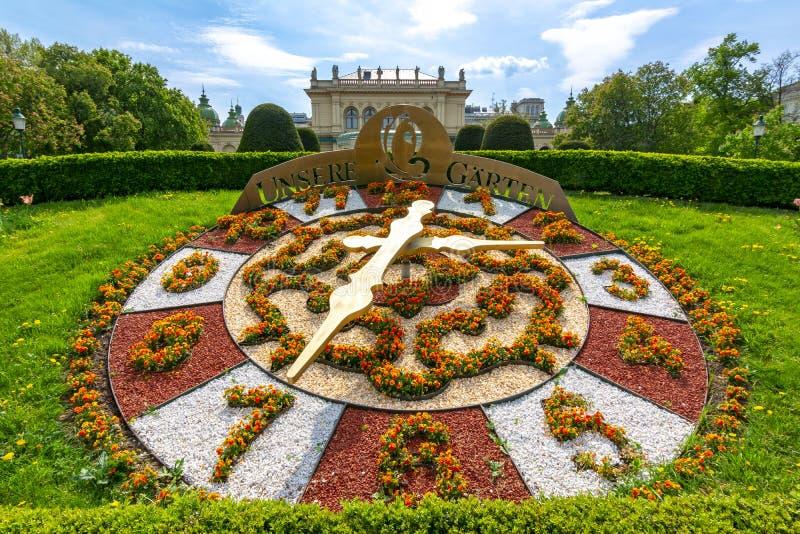 Flower clock in Stadtpark, Vienna, Austria royalty free stock images