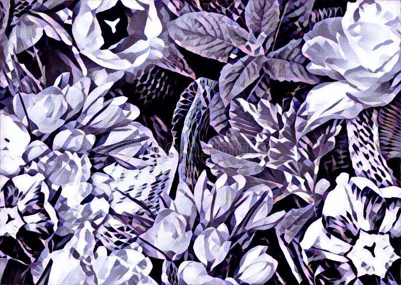 Garden flower collage royalty free illustration