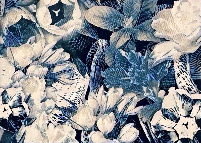 Garden flower collage stock illustration