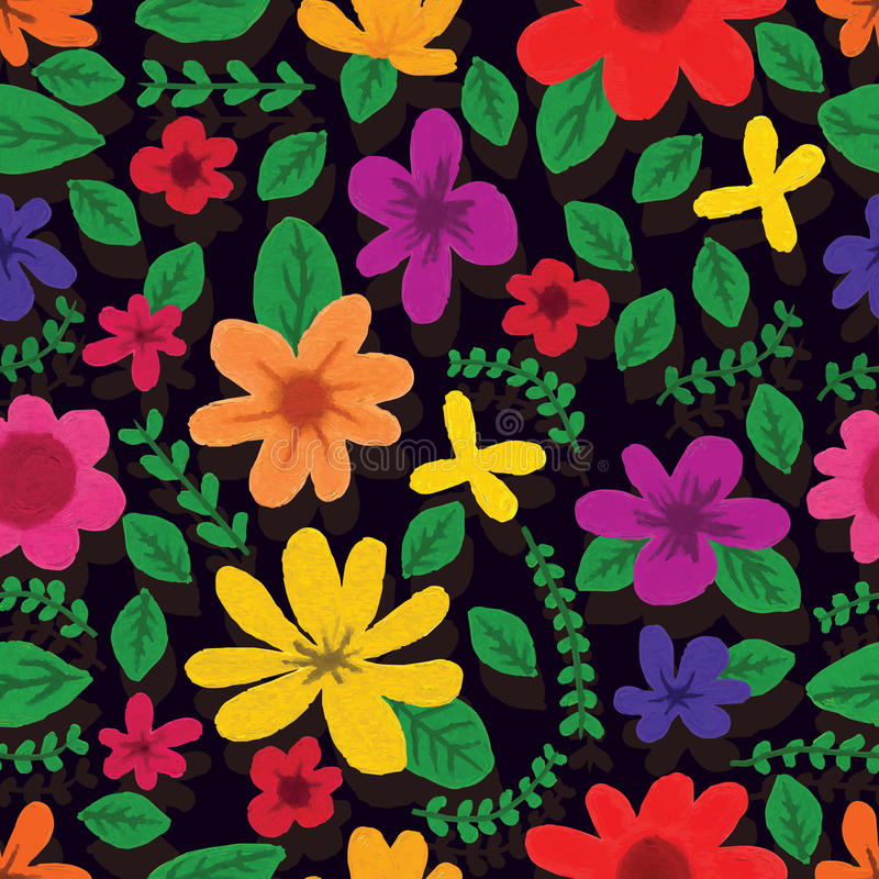 Illustration Design Painting Colorful Flowers Seamless Pattern Batik Bright Dark Color Background Graphic Wallpaper