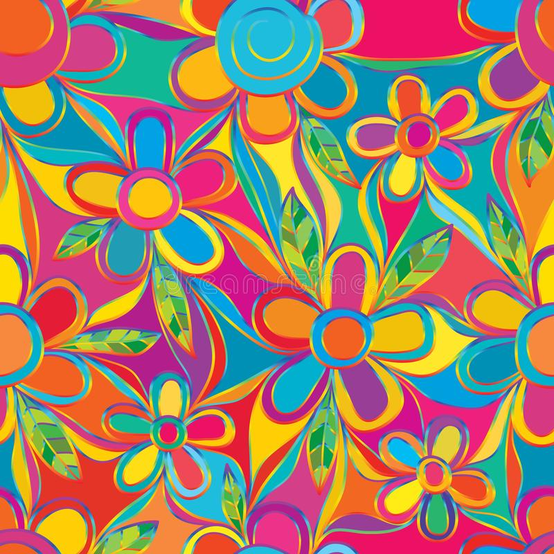 Flower colorful style rainbow line connect full page seamless pattern. This illustration abstract batik with flower colorful style rainbow line connect full page royalty free illustration