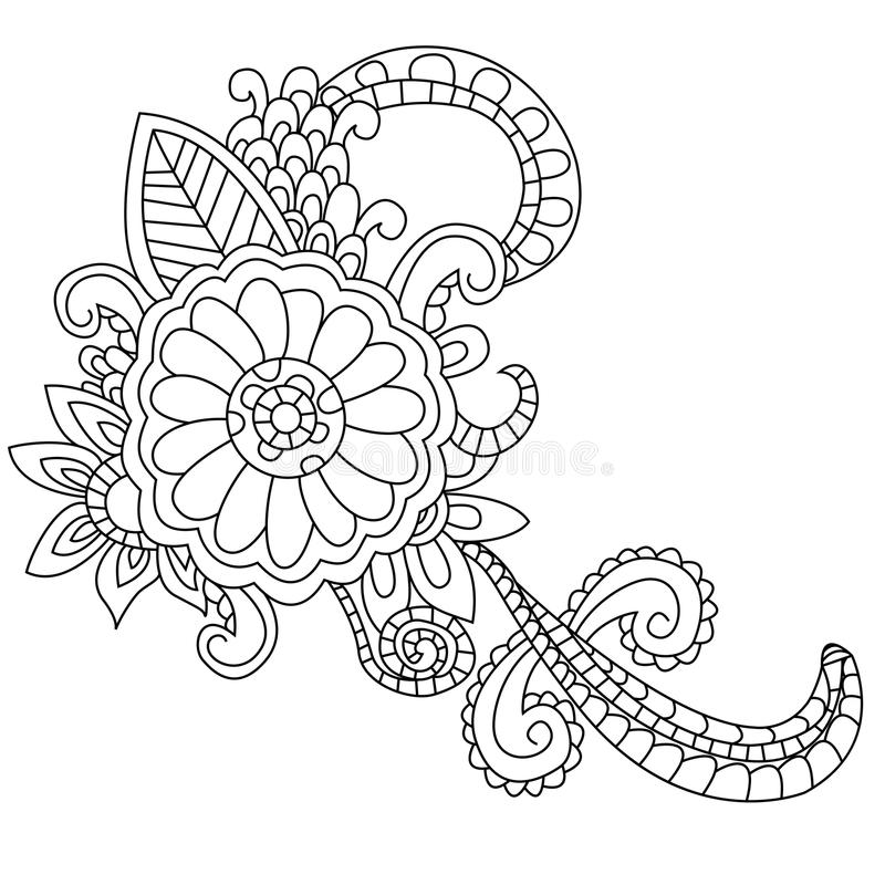 Flower coloring vector for adults royalty free illustration