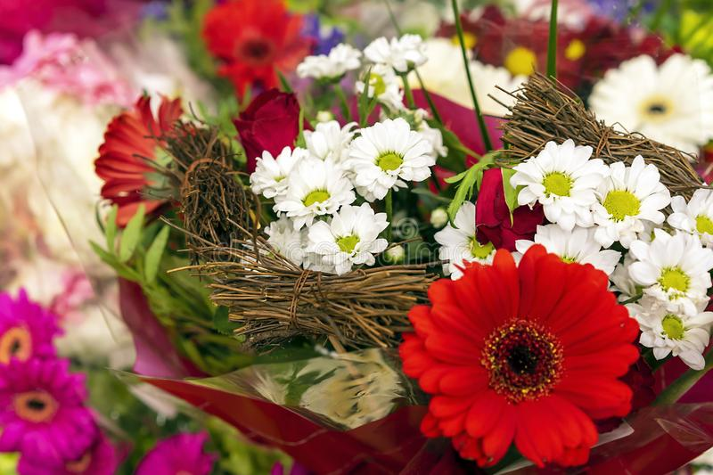 Flower composition from different types of flowers.  royalty free stock photo