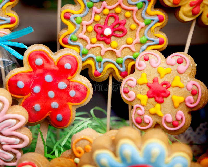 Flower cookies. Close-up of flower cookies royalty free stock photos