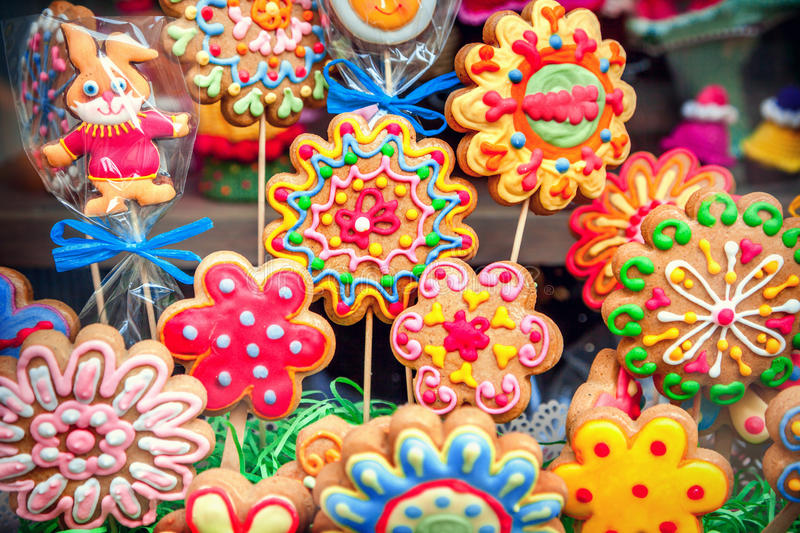 Flower cookies. Close-up of flower cookies stock photography