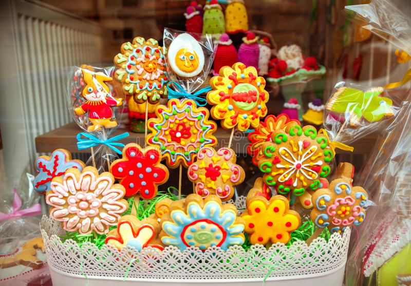 Flower cookies. Close-up of flower cookies stock image