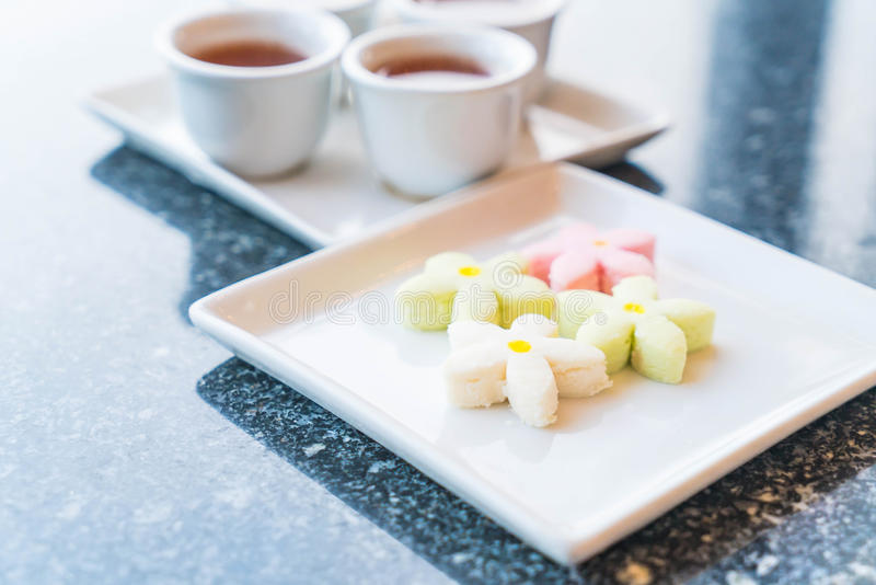 Flower cookies snack with tea. Chinese dessert royalty free stock images