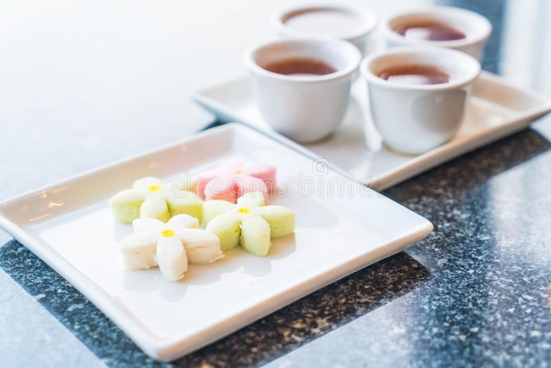 Flower cookies snack with tea. Chinese dessert royalty free stock photography