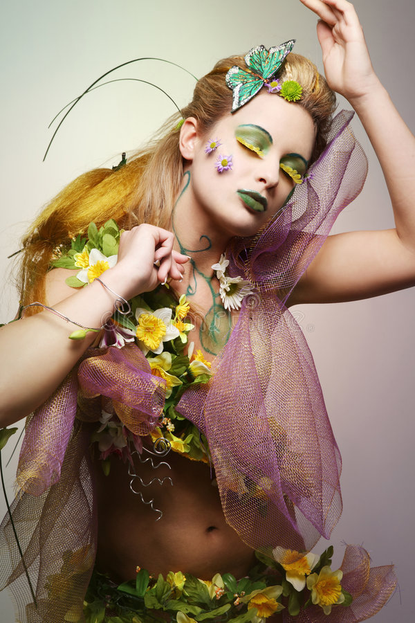 Flower costume. royalty free stock photography