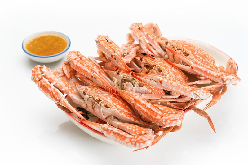 Flower crab steamed isolated on white background royalty free stock photography