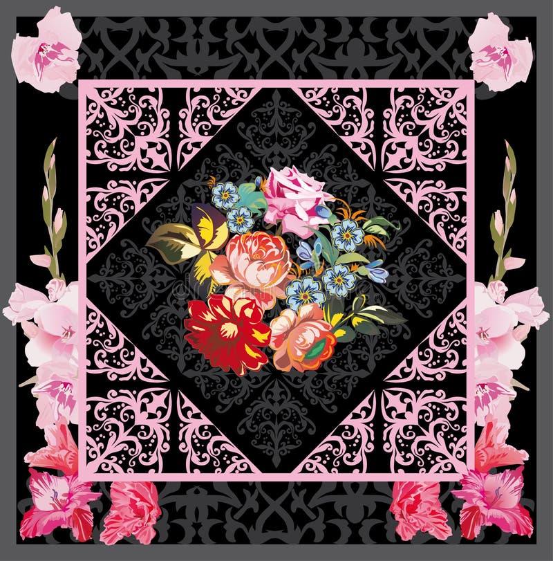 Flower decoration in gladiolus frame royalty free illustration