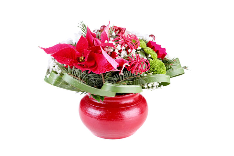 Flower decoration in a red vase stock photos