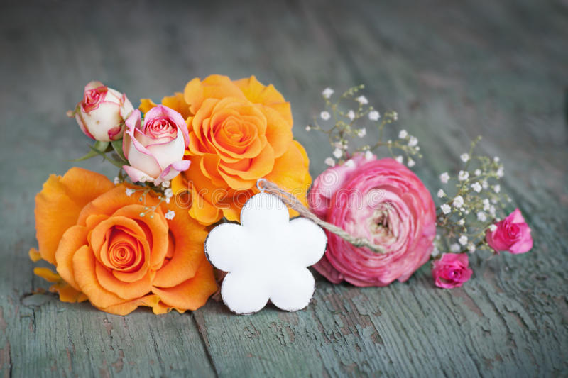 Flower decoration for a small message royalty free stock photography