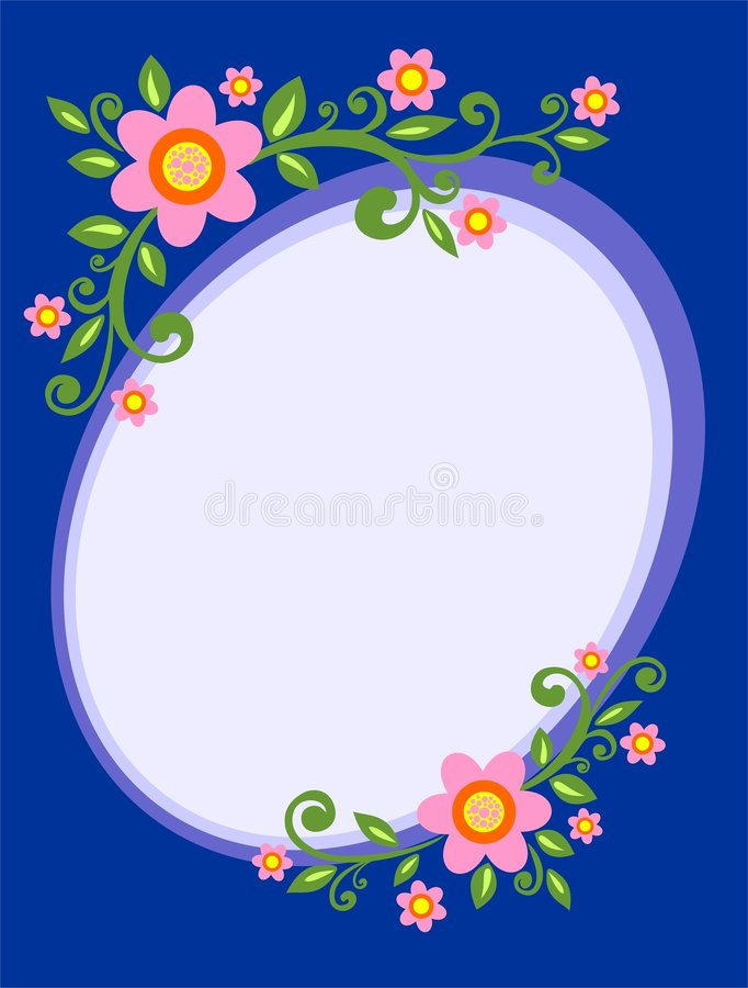 Flower decorative frame. Frame from pink decorative flowers on a dark blue background stock illustration