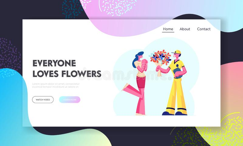 Flower Delivery Service Website Landing Page. Surprised Girl Get Bouquet from Deliveryman. Boyfriend Sending Present. To Girlfriend. Loving Relation Web Page stock illustration