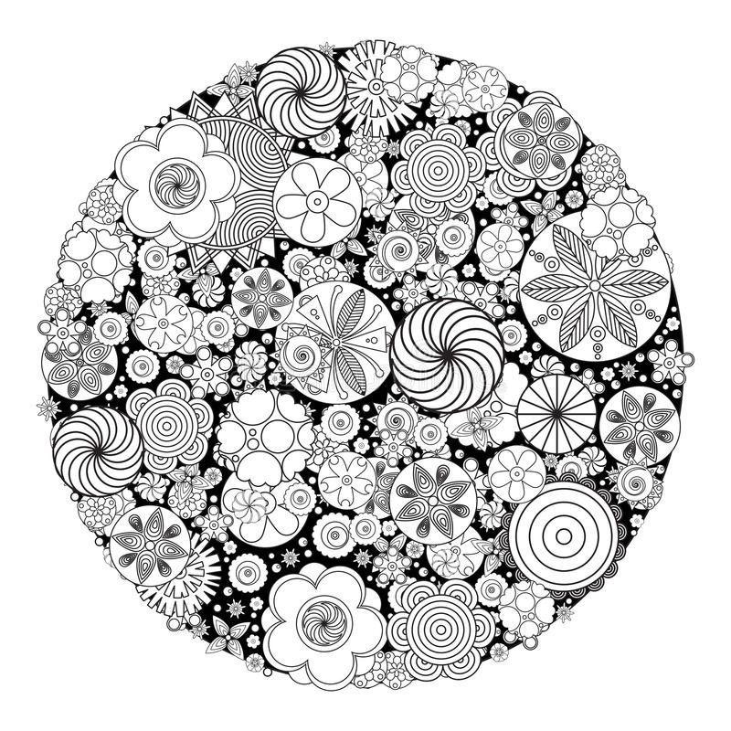 Download Flower Design For Coloring Book Grown Up Stock Vector