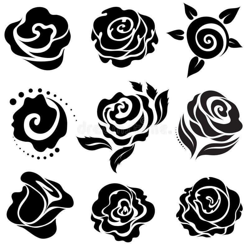 Flower design elements. Set of black rose flower design elements