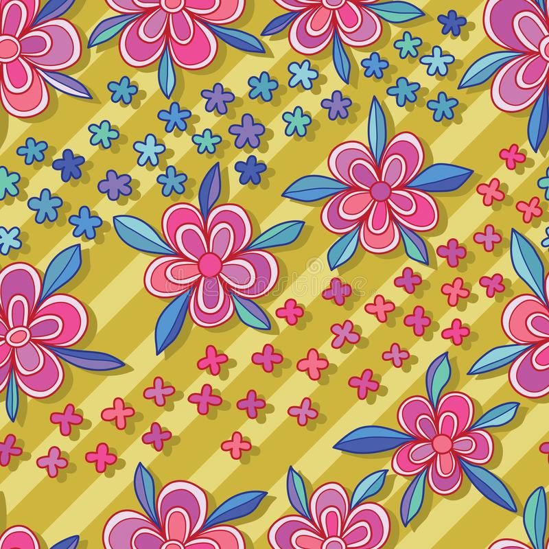 Flower diagonal style seamless pattern blue pink colors vector illustration