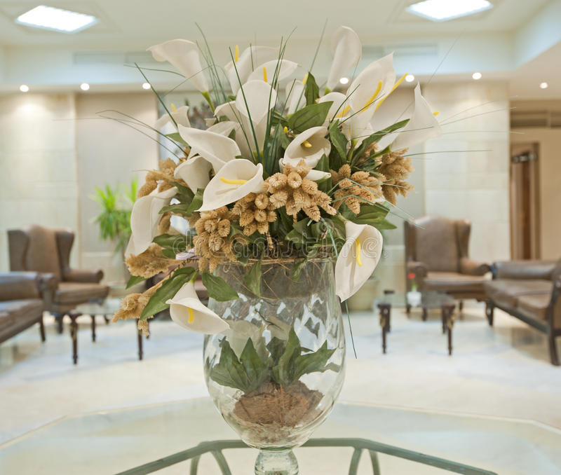 Hotel Foyer Display : Flower display in a hotel lobby stock photo image of