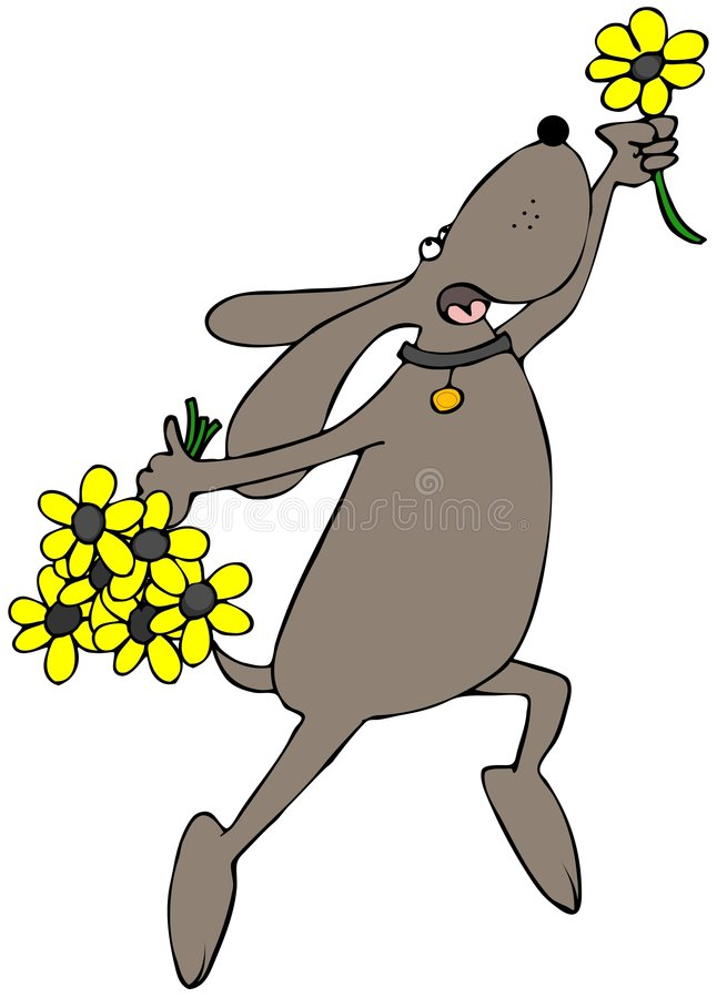 Flower Dog. This illustration depicts a prancing dog holding yellow flowers royalty free illustration
