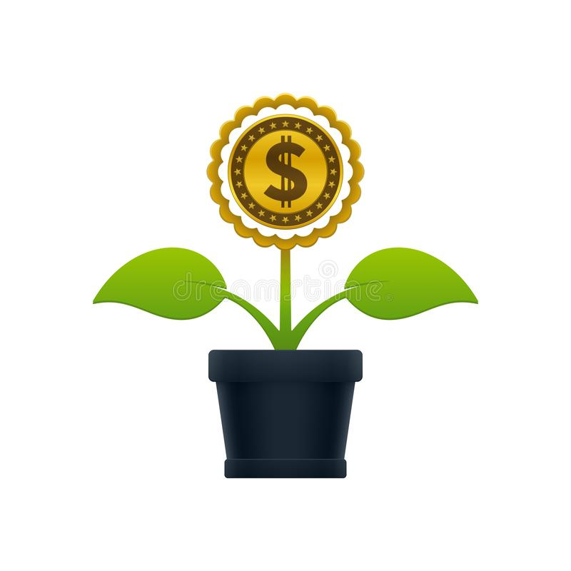 Flower with dollar coin in flower pot stock illustration