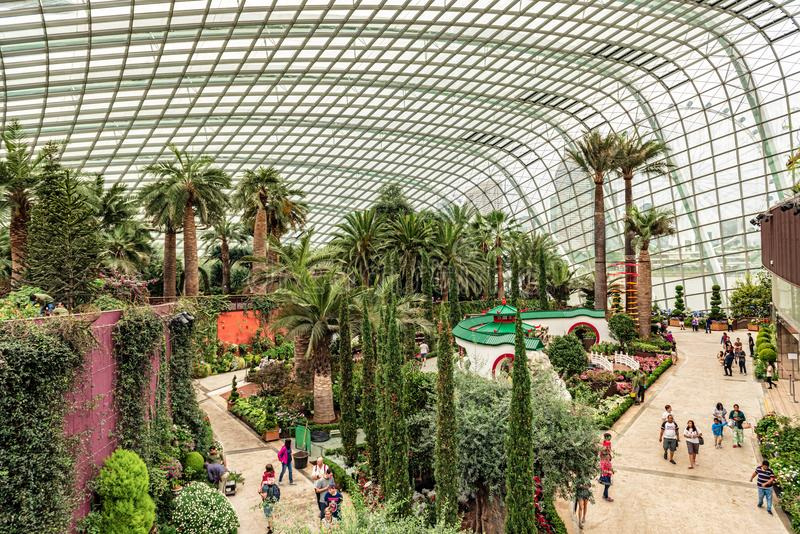 Flower Dome conservatory. Gardens by the Bay. Singapore,. Singapore Jan 11, 2018: Tourists visiting flower dome conservatory at Gardens by the Bay in Singapore stock photos