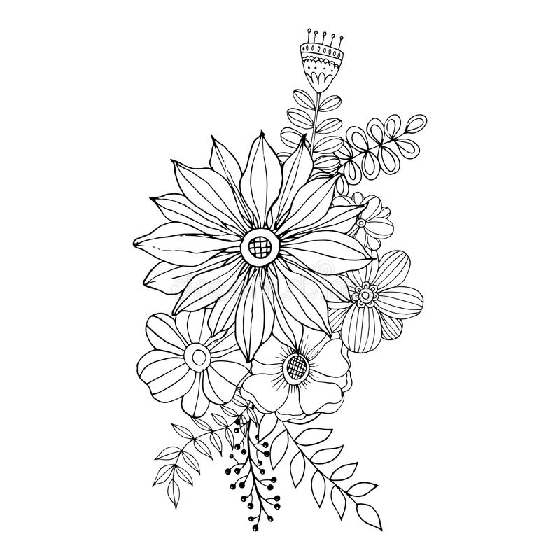 Flower Doodle Drawing Freehand , Coloring Page With Doodle Stock ...