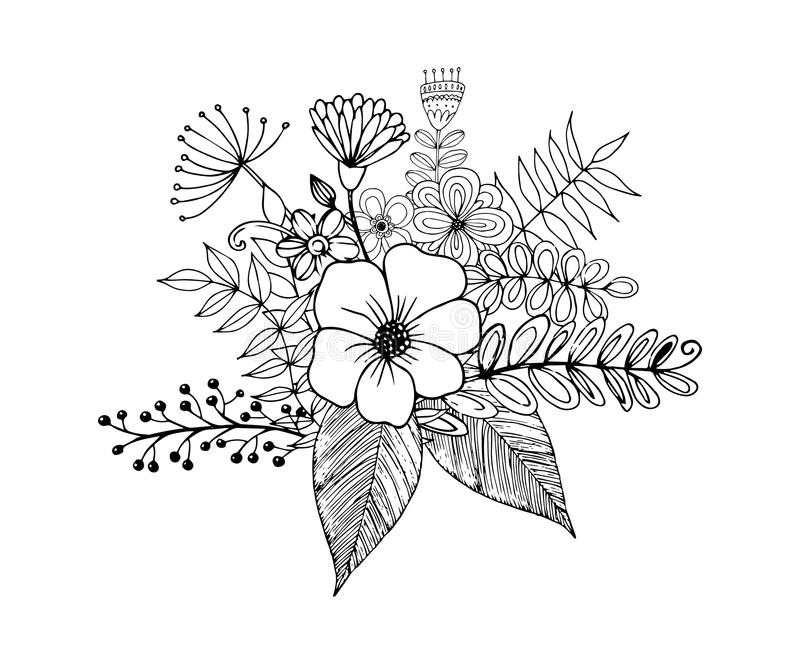 Flower Doodle Drawing Freehand Coloring Page With Doodle Stock Vector