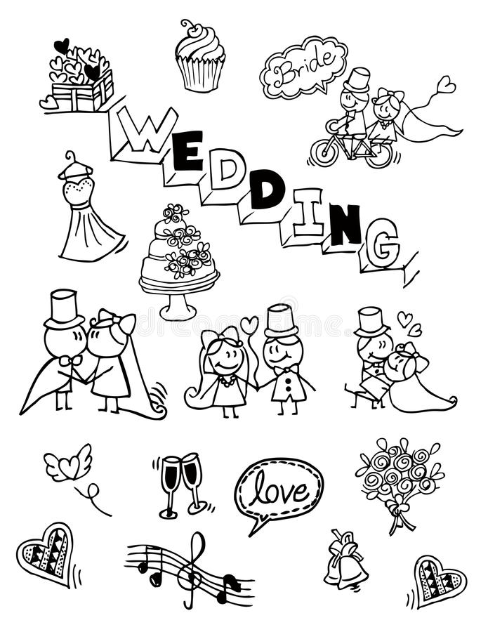 wedding doodle ,hand drawn ,vintage stock photography