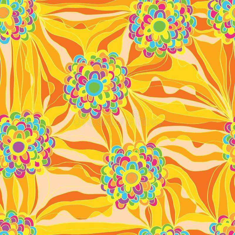 Flower draw curtain seamless pattern royalty free illustration