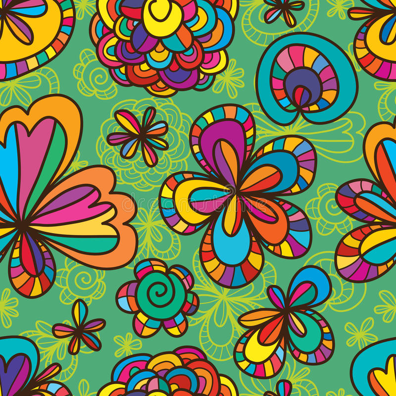 Flower drawing line seamless pattern. Illustration design drawing flower yellow line shape flower simply decor green color background seamless pattern vector illustration