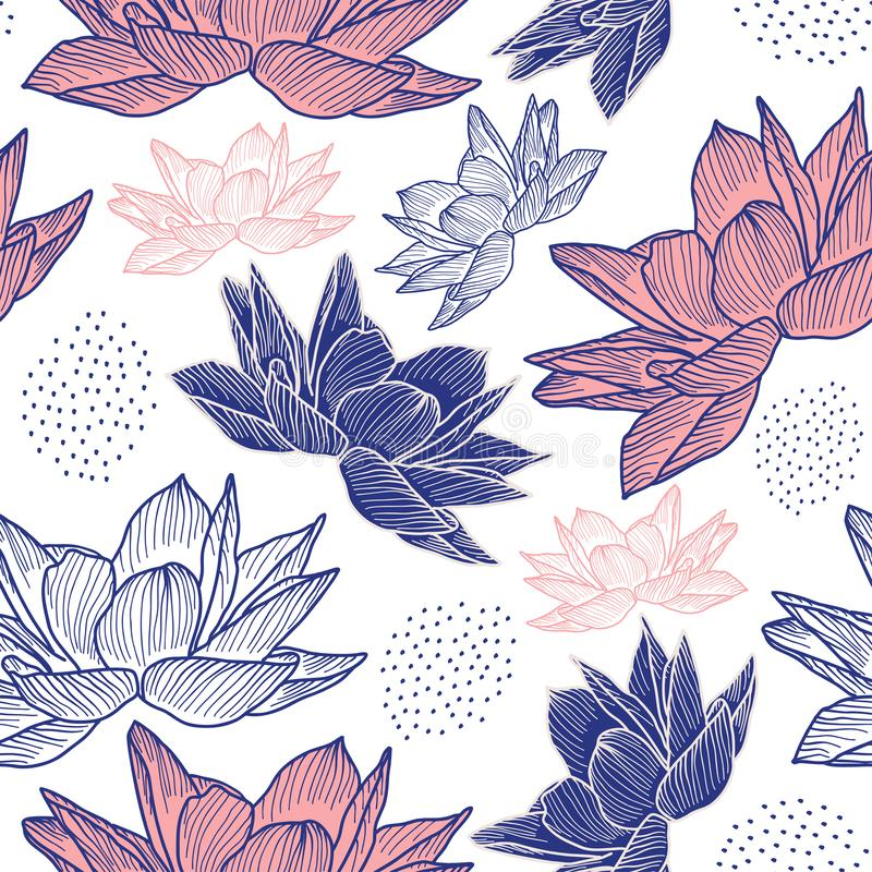 flower drawing seamless pattern with hand drawn style lotus vintage decoration. Vector illustration repeat ready for fashion vector illustration
