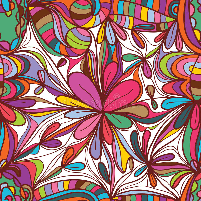 Flower drawing square seamless pattern royalty free illustration